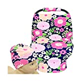 SHELLBOBO Nursing Breastfeeding Cover Baby Car Set Cover Canopy Floral Print (pink)