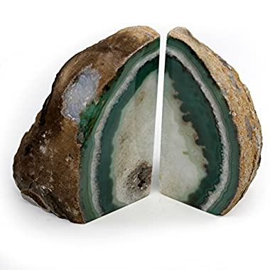 Sold As Shown: Green Agate Bookends Large Size (GR2)