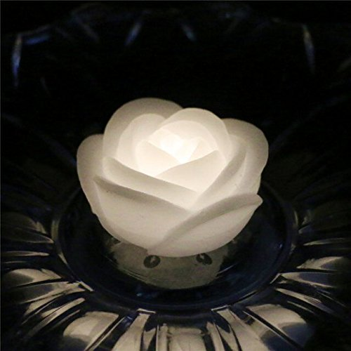 LACGO LED Flameless Water Floating Rose Shaped Candle Light for Wedding arrangements or Party Decoration (Warm White) (Pack of 48)