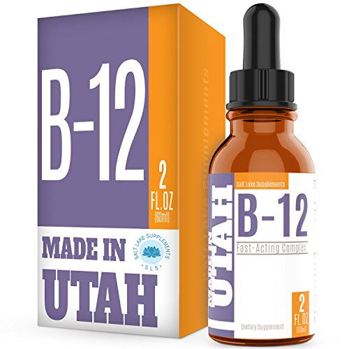 Vitamin B12 Liquid Drops - Best Way To Instantly Boost Energy Levels And Speed Up Metabolism - Made in Our Lab in Utah, 2 Fluid Ounces
