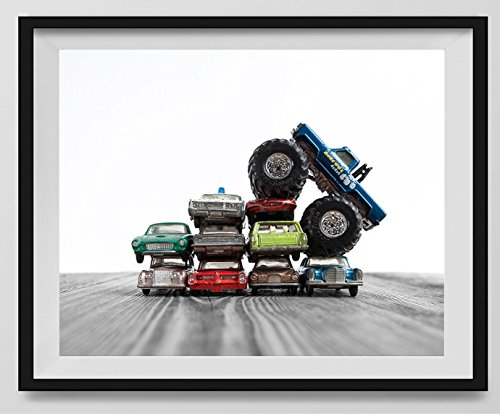 Truck Picture Photo - Monster Truck Car Crush, Monster Truck Photo Wall Art, Boys room Wall art, Photo Decor, Dinosaur room, Nursery decor, Kids Room Wall Art. Available as print or canvas.