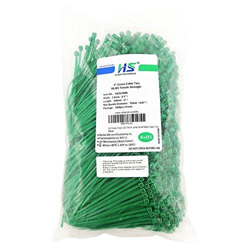(HS Nylon Wire Ties Green Zip Ties 1000 Pieces 18 Lbs Plastic Cable Ties 4 Inch,UV Resistant Outdoor)