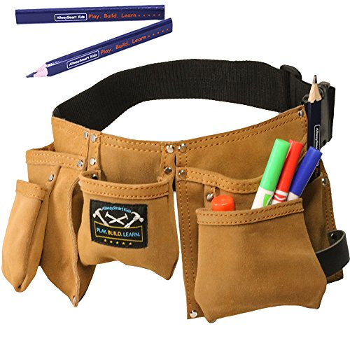 Young Builder Kids Leather Tool Belt & Carpenter Pencils - Durable suede (Young Belt)