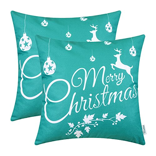 CaliTime Pack of 2 Soft Canvas Throw Pillow Covers Cases for Couch Sofa Home Decor Merry Christmas White Reindeer 18 X 18 Inches Teal