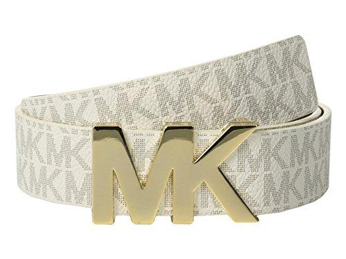 Michael Kors Signature Belt with MK Plaque (L, White)
