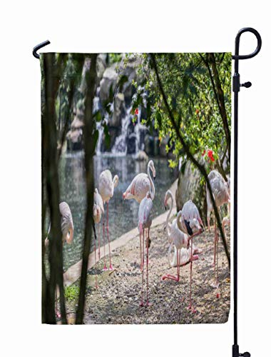 Shorping Welcome Garden Flag, 12x18Inch Birds Pink Flamingos Flamingo in Bird Park Greater Phoenicopterus roseus Kuala Lumpur for Holiday and Seasonal Double-Sided Printing Yards Flags ()