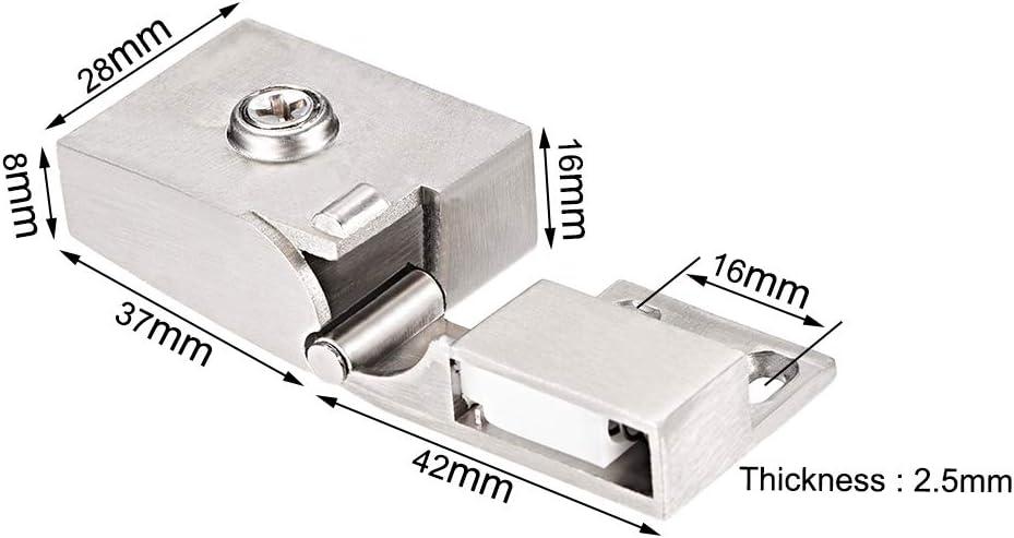 sourcing map Bisagra de cristal abrazadera de la puerta del armario de cristal,abrazadera de 3-5 mm de espesor de vidrio 2PAR