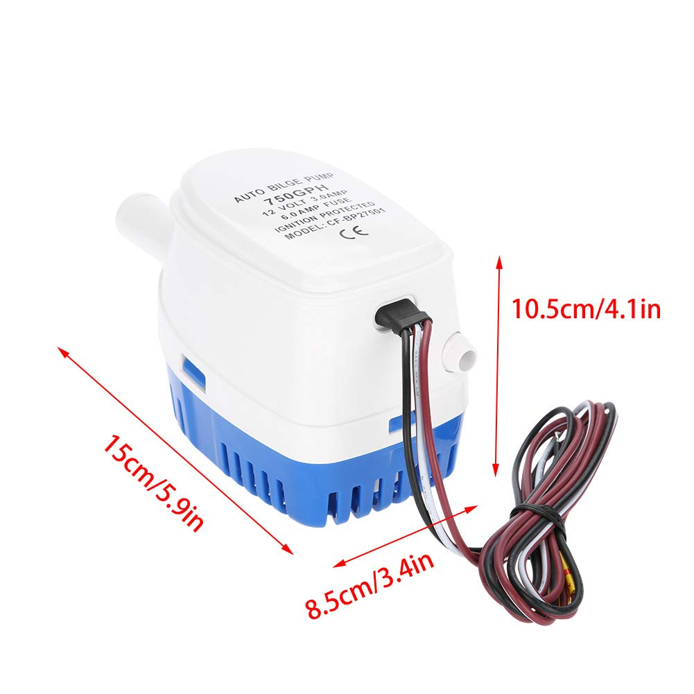Zerone Automatic Bilge Pump Submersible Boat Pond Electrical Wiring 12v 750gph With Internal Float Switch