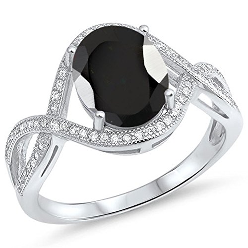925 Sterling Silver Faceted Natural Genuine Black Onyx Oval Infinity Ring Size 10