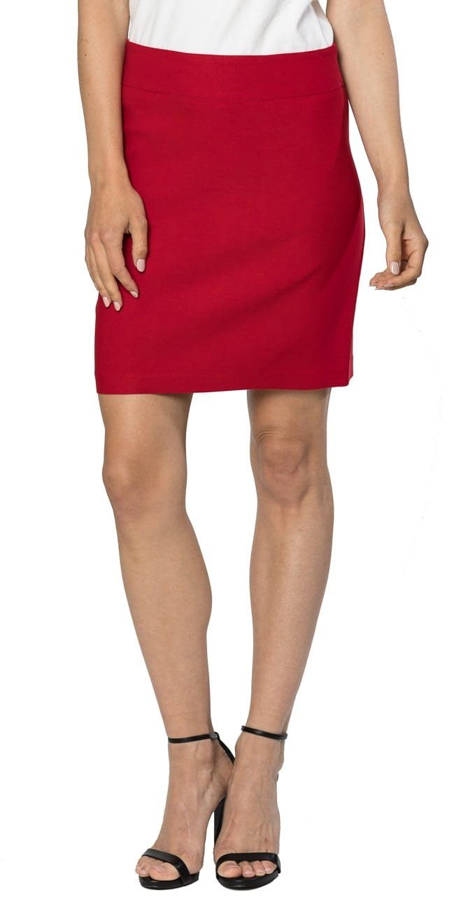 Velucci Womens Stretchable Mini Pencil Skirt - Above The Knee 19'' Length Classic Skirt, Red-M