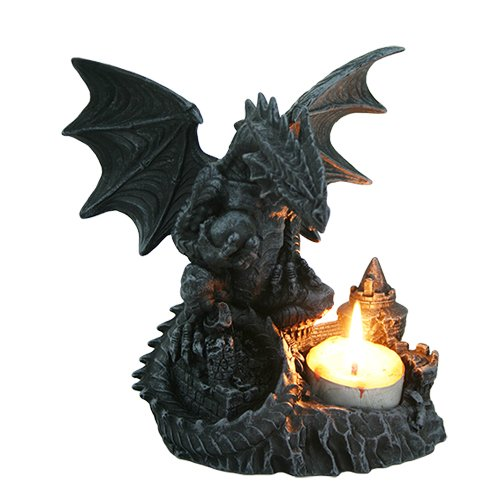 PTC 6 Inch Perching Dragon Hand Painted Resin Candle Holder, Black