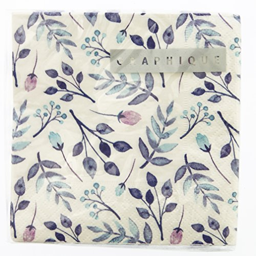 Graphique Purple Floral Party Napkins - 20 Soft Triple-Ply Tissue Napkins With Blue and Violet Floral Pattern, 5