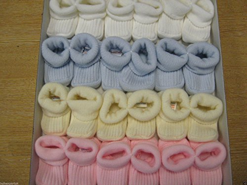BABY KNITTED BOOTIES BOYS GIRLS SOCKS NEWBORN BOOTEES S 0 3 mths APPROX