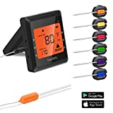 Meat Thermometer, Silipower Bluetooth Grilling Cooking Food Thermometer with 6 Probes, Wireless Remote Digital Thermometer for Oven Kitchen Smoker BBQ