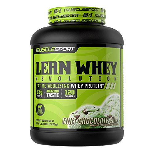 MuscleSport Lean Whey Revolution (Mint Chocolate Chip, 5lb) Protein Powder, Whey Protein Isolate, Fat Burning, Weight Loss, Low Calorie, Low Carb, Low Fat, Incredible Flavors