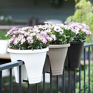 Maceta para balcón, barandilla–Diámetro 27cm–Varios colores, morado