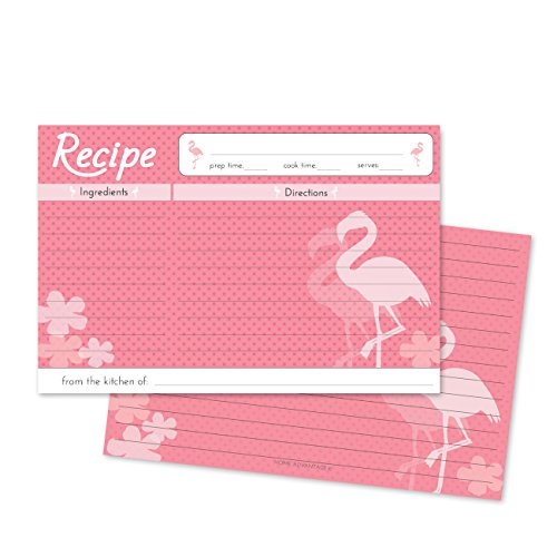 Home Advantage - 50 Double Sided Family Recipe Cards, 4x6 inches, Pink Flamingo Design Set by Home Advantage