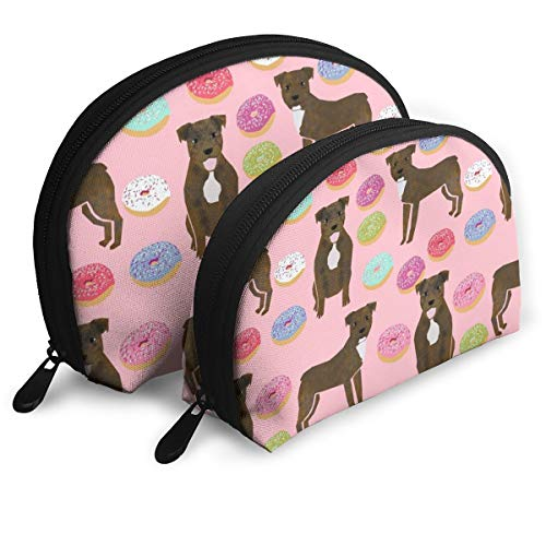(Brindle Pitbull Dogs And Donuts Pink Cosmetic Pouch Clutch Portable Bags Handbag Organizer with Zipper 2Pcs)