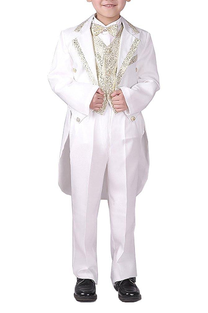 YUFAN Boys Black/White 5 Pieces Tuxedo Suits with Tail Tailcoat Vest Pants Shirt Bow Tie