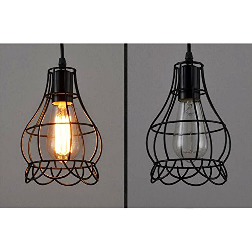 Sanguinesunny Pendant Light Ceiling Lamp Industrial Vintage Style Mini Hanging Lighting Lamp with Rose Wire Cage Guard 1-Light in Black Finish 40W 110V by Sanguinesunny (Image #6)