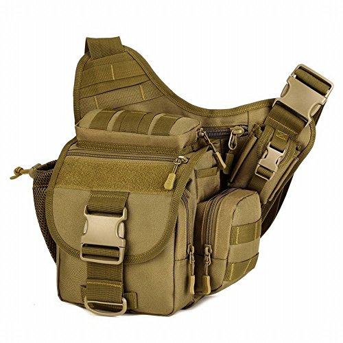 Hung Kai cámara SLR de alta capacidad especial 8 colores camo impermeable a prueba de golpes bolsa de hombro bolso de la cámara de fotografía salvaje bolsa de múltiples funciones de la cámara Marrón