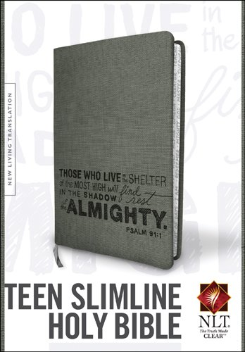 Teen Slimline Bible NLT (Red Letter, LeatherLike, Charcoal)