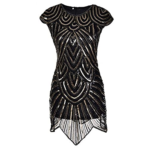 Womens 1920s Gatsby Cap Sleeve Round-Neck Sequins Evening Prom Flapper Dress Medium