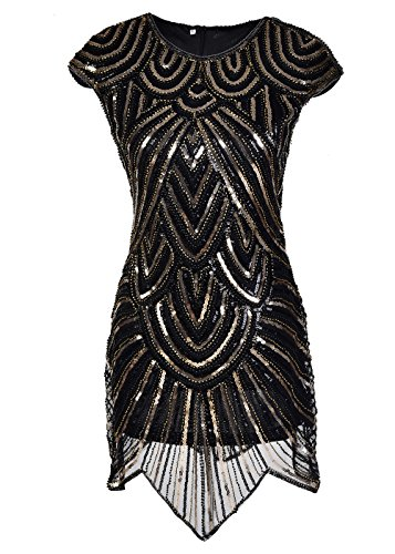 Women's 1920's Gatsby Cap Sleeve Round-Neck Sequins Evening Prom Flapper Dress Medium (Great Gatsby Dresses)