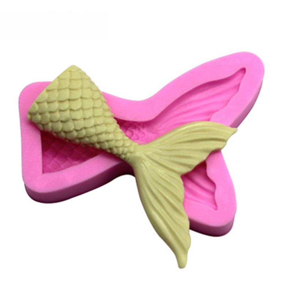 Hosaire 1Pcs 3D Mermaid Fishtail Design Silicone Cake Mold Sugarcraft Fondant Cake Decorating Tools