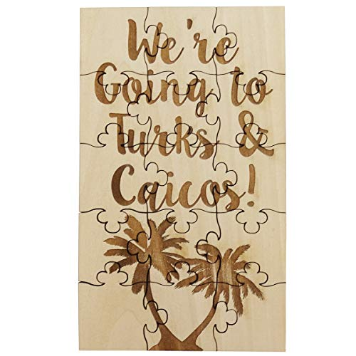 We're Going To Turks and Caicos - 15 Piece Basswood Jigsaw Puzzle, Surprise Vacation Trip Reveal