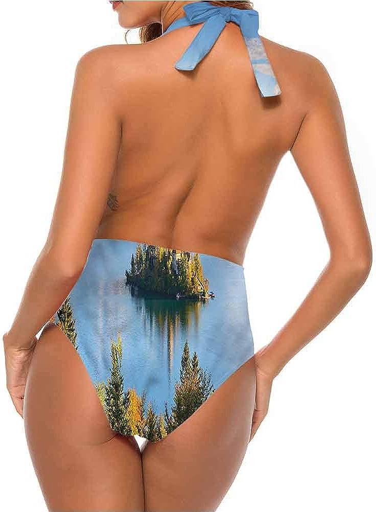 Adorise Maillot de bain Paysage, Jackson Lake aux États-Unis pour vous faire sentir à l\'aise/en confiance Multicolore 08