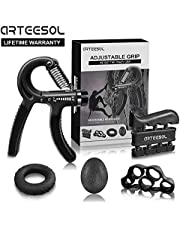 Hand Grip Strengthener Arteesol Grip Strength Equipment 5 Pack Fingertrainer Klettern Forearm Hand Trainer Adjustable Hand Gripper(11-132lbs), Finger Exerciser, Finger Stretcher, Exercise Ring & Stress Relief Grip Ball for Athletes and Musicians