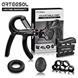 arteesol Hand Grip Strengthener 5 Pack Adjustable Hand Gripper Resistance Finger Exerciser, Finger Stretcher,Hand Therapy Ball & Exercise Ring Hand Finger Wrist Forearm Therapy Exerciser (Black)
