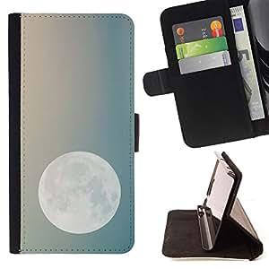 BullDog Case - FOR/Samsung Galaxy Note 3 III / - / moon night sky teal blue planets earth /- Monedero de cuero de la PU Llevar cubierta de la caja con el ID Credit Card Slots Flip funda de cuer