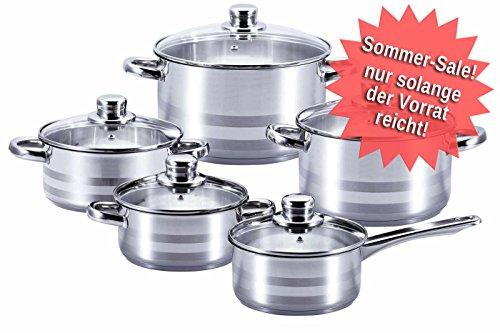 Kochtopfset 10-tlg., 5 Kochtöpfe mit Glasdeckeln in verschiedenen Größen und 1 Kasserolle mit Glasdeckel