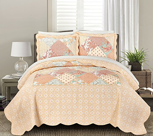 Blissful Living Luxury Ruffle Quilt Set Including Shams - Lightweight and Soft for all Seasons - Julienne Coral - Full / Queen (Coral Quilt Set)