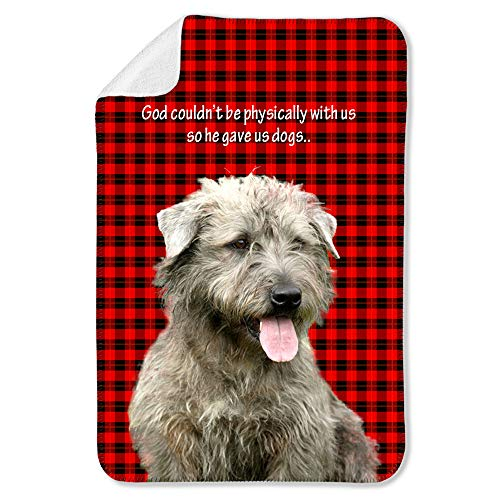 NIWAHO Glen of Imaal Terrier Dog on Red Wallace Tartan Scottish Plaid Background Printing Sherpa Blanket Sofa Throws, Dog MOM Gift -