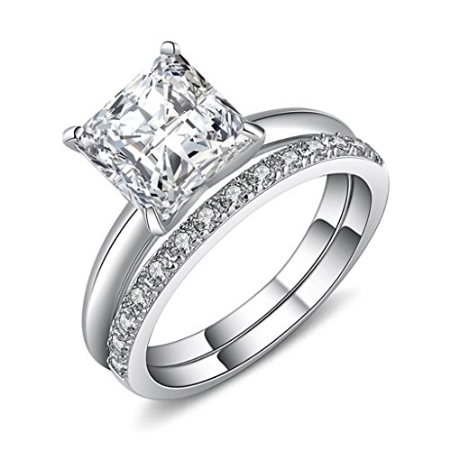 Castillna Sterling Silver Princess Cut Cubic Zirconia Solitaire Engagement Ring Set