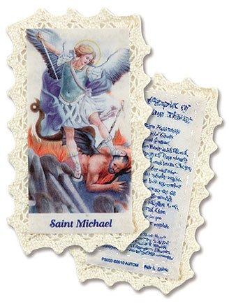 Patron Saint St Michael the Archangel Devotional Lace Holy Prayer Card