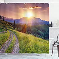 Lunarable Country Shower Curtain, Majestic Calm Sunset in The Mountains Landscape Carpathian Ukraine Europe Scenics, Cloth Fabric Bathroom Decor Set with Hooks