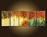Mon Art 100% Hand Painted Canvas Wall Art Oil Painting for Living Room Bedroom Office Garden Forest Abstract Home Decoration Decor Retro Artwork Gallery 20'' x 10'' x 5 PCS ( Stretch Wood Frame )