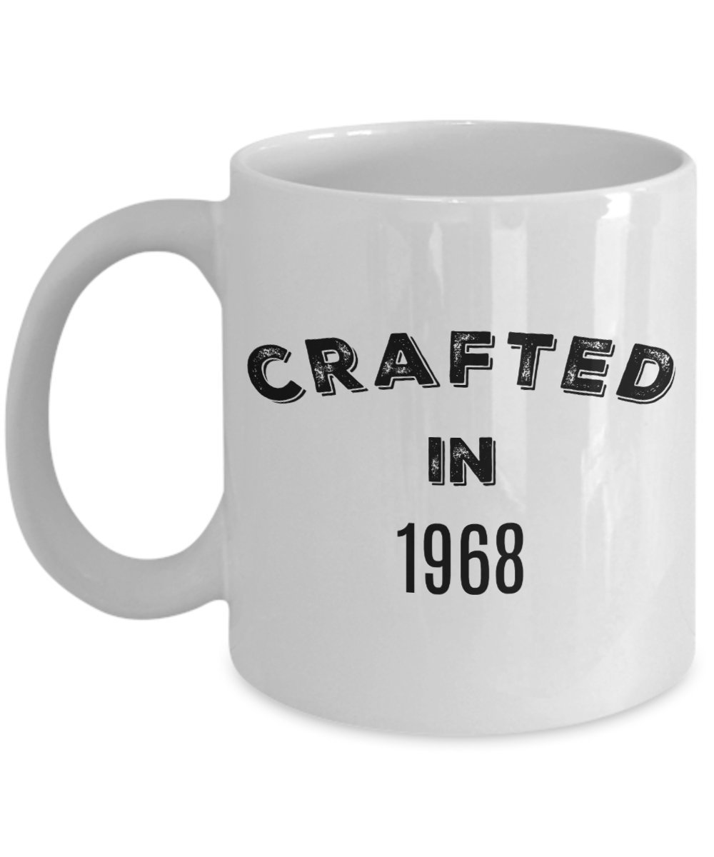 50th Birthday Stuff for Men Women - 1968 Mug - Gag Gifts for 50 Years Old - Crafted in 1968 Novelty Coffee Cup - Vintage Design