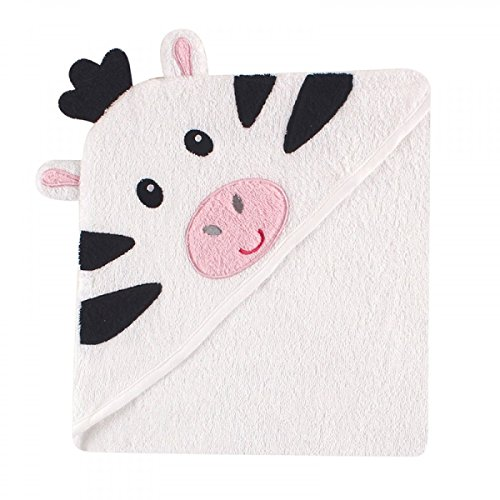 Luvable Friends Unisex Baby Cotton Animal Face Hooded Towel, Zebra, One Size