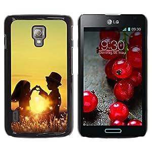 Be Good Phone Accessory // Dura Cáscara cubierta Protectora Caso Carcasa Funda de Protección para LG Optimus L7 II P710 / L7X P714 // Kids Children Love Romance Childhood Sun