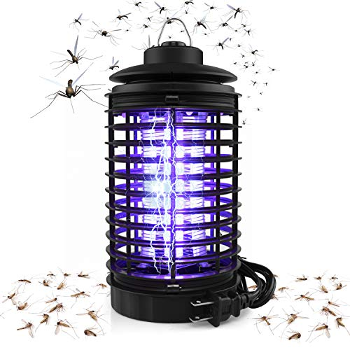 BAPTISM Electric Bug Zapper, Powerful Mosquito Trap, Light-Emitting Mosquito Lamp with Hook, Flying Insect Trap for Indoor (Black) ()