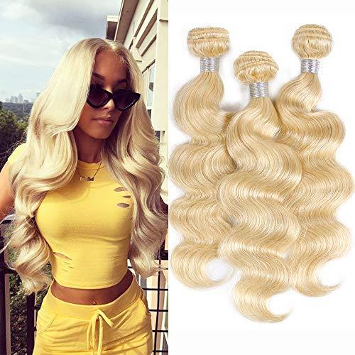613 Blonde Hair 3 Bundles Body Wave(14 16 18 inches,Tatal 300g/lot) Brazilian Remy Human Hair Bundles Blonde Hair Weave ()