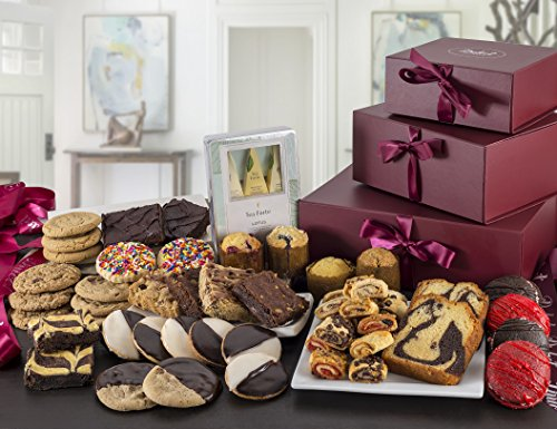 Dulcet's Ultimate Gift Holiday Tower Baskets Includes- Cookies, Whoopee Pies,Brownies, Rugelah, Muffins, Pond Cakes, Tea. Best Gift Idea!