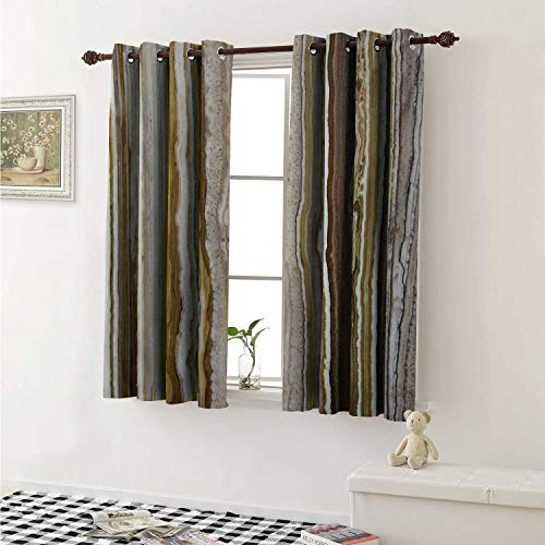 - Marble Thermal Insulating Blackout Curtain Onyx Marble Rock Themed Vertical Lines and Blurry Stripes in Earth Color Print Curtains Girls Room W55 x L39 Inch Mustard Brown