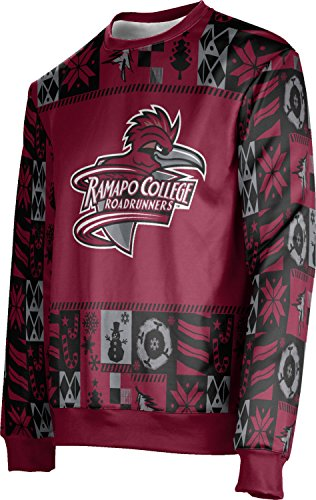 ProSphere Ramapo College of New Jersey Ugly Holiday Unisex Sweater - Wrapping Paper FE5A2 Red and Gray