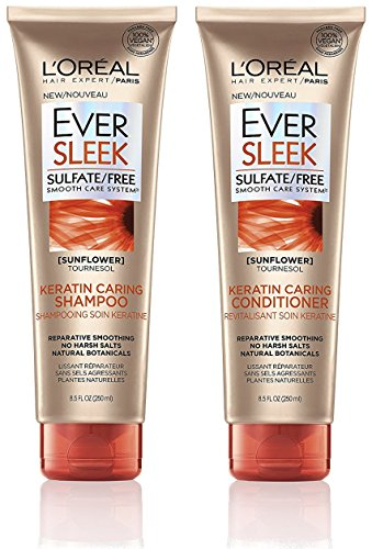 Net 250ml (L'Oreal Hair Expert / Paris - EverSleek - Keratin Caring Shampoo & Conditioner Set - Net Wt. 8.5 FL OZ (250 mL) Per Tube - One Set)